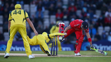 Kevin Pietersen was run out in the first over of England's reply