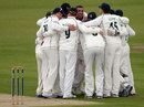 Andre Adams is at the centre of a celebratory huddle, Durham v Nottinghamshire, County Championship, Division One, Chester-le-Street, 1st day, September 17, 2013