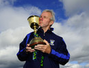 Geoff Cook kisses the Championship trophy, Durham v Nottinghamshire, County Championship, Division One, Chester-le-Street, 3rd day, September 19, 2013