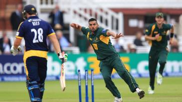 Ajmal Shahzad removed Gareth Rees for 29