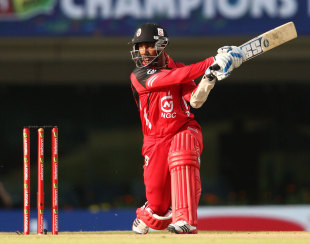 Denesh Ramdin plays a shot through the off side, Brisbane Heat v Trinidad & Tobago, Champions League 2013, Group B, Ranchi, September 22, 2013