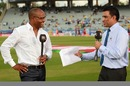 Brian Lara talks to Sanjay Manjrekar before the start of the match, Brisbane Heat v Trinidad & Tobago, Champions League 2013, Group B, Ranchi, September 22, 2013