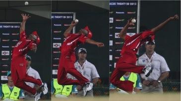 Lendl Simmons leaps to prevent a certain six