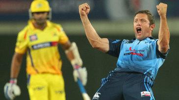 Roelof van der Merwe exults after dismissing M Vijay