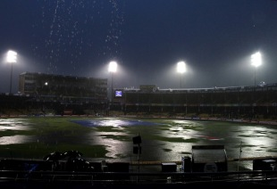 Heavy rains fall at the Sardar Patel Stadium, Lions v Perth Scorchers, Group A, Champions League 2013, Ahmedabad, Sep 23, 2013