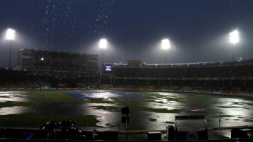 Heavy rains fall at the Sardar Patel Stadium