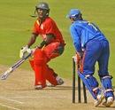 Shoun Handirisi is stumped by Ankush Bains, India Under-19s v Zimbabwe Under-19s, Visakhapatnam, Sep 23, 2013