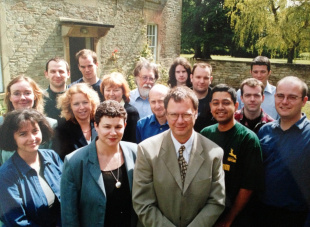 Cricinfo's staff outside the Hartham Park office, 2001