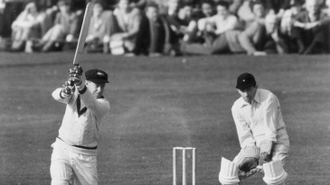 Arthur Morris drives while playing against East Molesley in Surrey