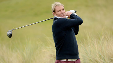 Shane Warne works on his swing
