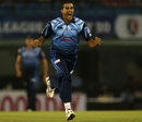 Rowan Richards exults after taking a wicket, Brisbane Heat v Titans, Group B, Champions League 2013, Mohali, September 24, 2013
