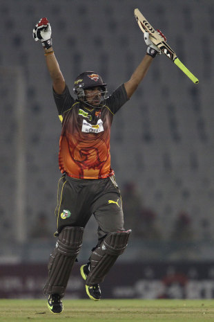 Karn Sharma exults after Sunrisers' win, Trinidad & Tobago v Sunrisers Hyderabad, Group B, Champions League 2013, Mohali, September 24, 2013