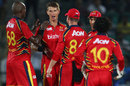 Lions celebrate the wicket of Rahul Dravid, Lions v Rajasthan Royals, Group A, Champions League 2013, Jaipur, Sep 25, 2013