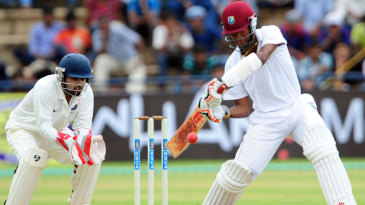 Kraigg Brathwaite looks to cut through the off side