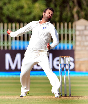 Parvez Rasool bowls for India A, India A v West Indies A, 1st unofficial Test, 1st day, Mysore, September 25, 2013