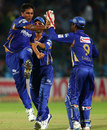 Vikramjeet Malik and his team-mates celebrate a wicket, Lions v Rajasthan Royals, Group A, Champions League 2013, Jaipur, September 25, 2013