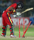 Thami Tsolekile loses his middle stump to James Faulkner, Lions v Rajasthan Royals, Group A, Champions League 2013, Jaipur, September 25, 2013