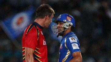 Rohit Sharma and Hardus Viljoen exchange words
