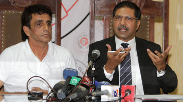 Asad Rauf with his lawyer, Syed Ali Zafar at a press conference