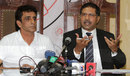 Asad Rauf with his lawyer, Syed Ali Zafar at a press conference, Lahore, September 27, 2013