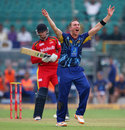 James McMillian appeals against Rassie van der Dussen, Lions v Otago, Group A, Champions League 2013, Jaipur, September 29, 2013
