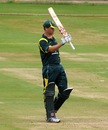 Sean Willis celebrates his fifty, Australia Under-19s v South Africa Under-19s, Visakhapatnam, September 29, 2013