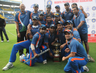 The victorious India Blue team with the NKP Salve Challenger trophy, India Blue v Delhi, Indore, September 29, 2013