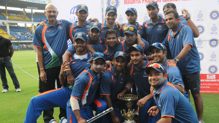The victorious India Blue team with the NKP Salve Challenger trophy