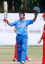 Ankush Bains celebrates his century, India U-19s v Zimbabwe U-19s, Visakhapatnam, September 29, 2013