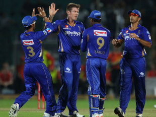James Faulkner celebrates a wicket with his Rajasthan Royals team-mates, Perth Scorchers v Rajasthan Royals, Group A, Champions League 2013, Jaipur, September 29, 2013