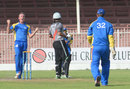 Christi Viljoen celebrates after getting Khurram Khan out leg before, United Arab Emirates v Namibia, WCL Championship, Sharjah, September 29, 2013