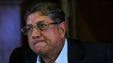 N Srinivasan at a media gathering after a meeting of the BCCI
