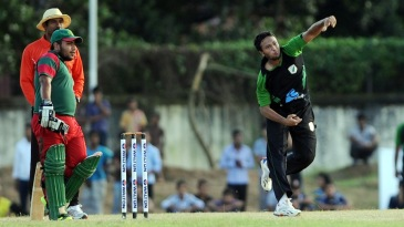 Shakib Al Hasan bowls during his comeback match