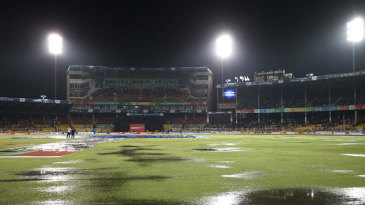 The game was abandoned owing to a wet outfield