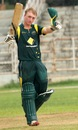 Jaron Morgan celebrates his 90-ball 100, Australia Under-19s v Zimbabwe Under-19s, Visakhapatnam, October 1, 2013