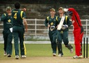 Matthew Fotia and team-mates celebrate a wicket, Australia Under-19s v Zimbabwe Under-19s, Visakhapatnam, October 1, 2013