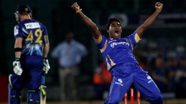 Rahul Shukla celebrates one of his three wickets