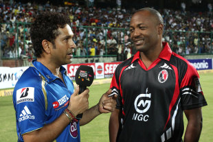 Sachin Tendulkar and Brian Lara were interviewed after the game, Mumbai Indians v Perth Scorchers, Champions League 2013,  Group A, Delhi, October 2, 2013