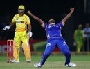 Rahul Shukla roars after dismissing MS Dhoni, Rajasthan Royals v Chennai Super Kings, 1st semi-final, Champions League 2013, Jaipur, October 4, 2013