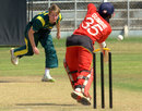 Joylord Gumbie is bowled by Guy Walker, Australia Under-19s v Zimbabwe Under-19s, 3rd place play-off, Visakhapatnam, October 5, 2013
