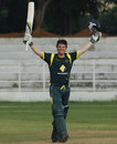 Damien Mortimer celebrates a century, Australia Under-19s v Zimbabwe Under-19s, 3rd place play-off, Visakhapatnam, October 5, 2013