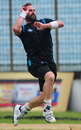 New Zealand pacer Mark Gillespie bowls in the nets, Chittagong, October 7, 2013