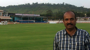Shivanand Gunjal at the KSCA Stadium in Hubli that he helped put together