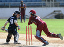 Merissa Aguilleira attempts to stump Katie Perkins, West Indies v New Zealand, 2nd Women's ODI, Kingston, October 8, 2013