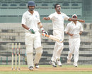 Abhimanyu Mithun celebrates the wicket of Mohammad Kaif, Central Zone v South Zone, Duleep Trophy semi-final, Chennai, 1st day, October 10, 2013