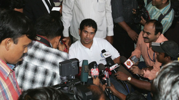 Sachin Tendulkar talks to the media