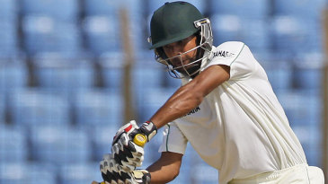 Marshall Ayub drives during his debut Test innings