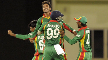 Jubair Hossain took a hat-trick to finish with figures of 3 for 7