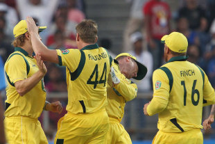James Faulkner poked Brad Haddin's eye while celebrating a wicket, India v Australia, 1st ODI, Pune, October 13, 2013