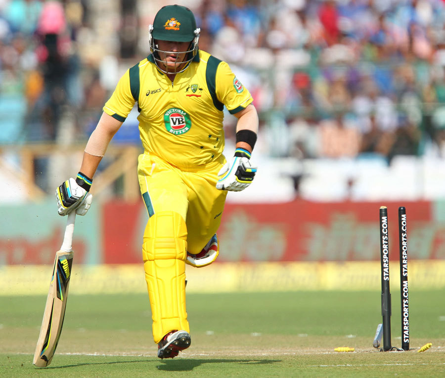 Aaron Finch after bein...